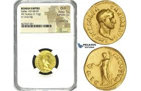 ZE64, Roman Empire, Galba (68-69 AD) AV Aureus (7.12g) Rome, 68-69 AD, Livia, Rare! NGC Ch F
