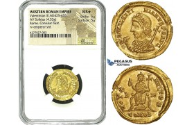 ZE66, Western Roman Empire, Valentinian III (425-455 AD) AV Solidus (4.53g) Rome, 435 AD, Consular Type, NGC MS★ As struck! Very Rare! Possibly finest known!