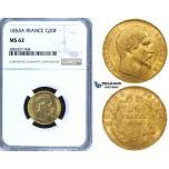 ZG63, France, Napoleon III, 20 Francs 1854-A, Paris, Gold, NGC MS62