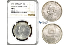 "ZL20, Lithuania, 10 Litu 1938 ""Republic Anniversary"" Silver, NGC MS63"