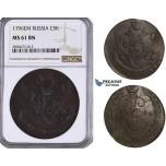 ZL28, Russia, Catherine II, 5 Kopeks 1796-EM, Ekaterinburg, NGC MS61BN
