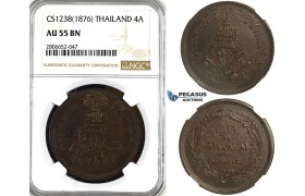 ZL36, Thailand, Rama V, 4 Att CS1238 (1876) NGC AU55BN