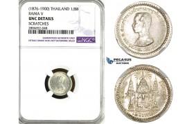 ZL37, Thailand, Rama V, 1/8 Baht ND (1876-1900) Silver, NGC UNC Det.