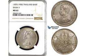 ZL38, Thailand, Rama V, Baht ND (1876-1900) Silver, NGC MS63