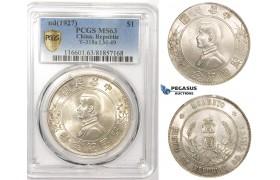 "ZM105, China, ""Memento"" Dollar 1927, Silver, PCGS MS63"