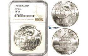 ZM107, China, Republic, Panda 10 Yuan 1989, Silver, NGC MS67