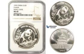 ZM108, China, Republic, Panda 10 Yuan 1990, Silver, NGC MS68 Small date