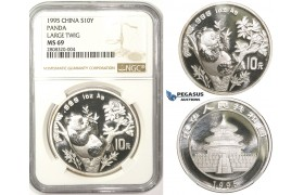 ZM109, China, Republic, Panda 10 Yuan 1995, Silver, NGC MS69 Large Twig