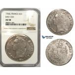 ZM113, France, Louis XV, Ecu 1766-L, Bayonne, Silver, NGC AU58, Pop 1/0, Finest!