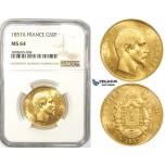 ZM119, France, Napoleon III, 50 Francs 1857-A, Paris, Gold, NGC MS64