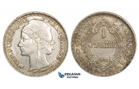 ZM122, French Indo-China, Piastre 1931, Paris, Silver, EF