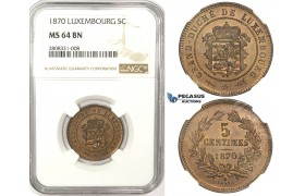 ZM132, Luxembourg, William III, 5 Centimes 1870, NGC MS64BN
