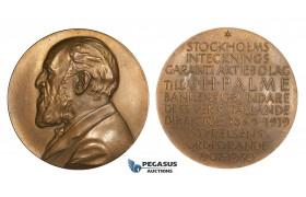 ZM138, Sweden, Bronze Medal 1930 (Ø63mm, 94.32g) Stockholms Bank, J.H. Palme