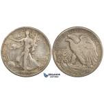 ZM141, United States, Walking Liberty Half Dollar (50C) 1917-S (Reverse) San Francisco, Silver, F-VF