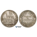ZM149, French Indo-China, Piastre 1899-A, Paris, Silver, gVF-XF