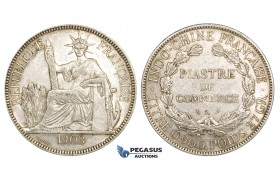 ZM151, French Indo-China, Piastre 1903-A, Paris, Silver, Lustrous AU