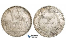 ZM153, French Indo-China, Piastre 1905-A, Paris, Silver, gVF