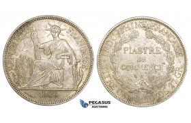 ZM154, French Indo-China, Piastre 1906-A, Paris, Silver, Lustrous XF-AU