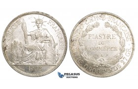 ZM156, French Indo-China, Piastre 1908-A, Paris, Silver, Lustrous AU
