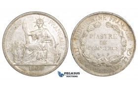 ZM157, French Indo-China, Piastre 1909-A, Paris, Silver, Lustrous AU