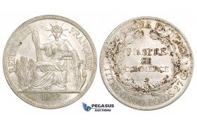 ZM160, French Indo-China, Piastre 1922-H, Heaton, Silver, Lustrous AU+, Stained