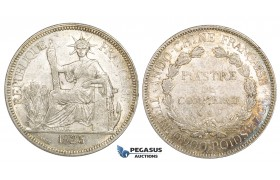 ZM161, French Indo-China, Piastre 1925-A, Paris, Silver, Lustrous AU
