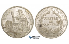 ZM162, French Indo-China, Piastre 1926-A, Paris, Silver, Lustrous AU, Edge nicks