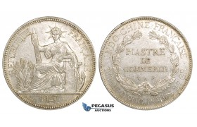 ZM163, French Indo-China, Piastre 1927-A, Paris, Silver, Lustrous AU