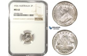 ZM17, Australia, George V, Sixpence (6P) 1926, Silver, NGC MS62