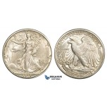 ZM175, United States, Walking Liberty Half Dollar (50C) 1918-S, San Francisco, Silver, Lustrous UNC (Hairline scratch Obv.)