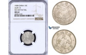ZM195, China, 10 Cents 1908, Tientsin, Silver, L&M 13 No dot in tail, NGC MS62, Rare!