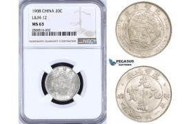 ZM196, China, 20 Cents 1908, Tientsin, Silver, L&M 12, NGC MS63, Rare!