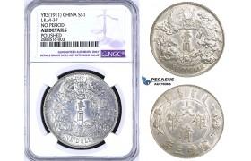 ZM197, China, Dollar Yr. 3 (1911) Silver, L&M 37, NGC AU Details (Polished)