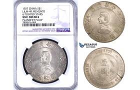 "ZM198, China ""Memento"" Dollar 1927, Silver, L&M 49, NGC UNC, Planchet Flaw"