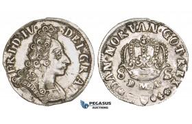 ZM199, Denmark, Frederik IV, 8 Skilling 1704 DMA, Silver (2.94g) VF+
