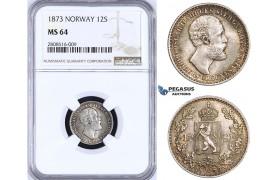 ZM204, Norway, Oscar II, 12 Skilling 1873, Kongsberg, Silver, NGC MS64