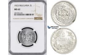 ZM21, Bulgaria, Boris III, 2 Leva 1923, NGC MS62