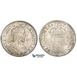 ZM215, France, Louis XIV, 1/2 Ecu 1648-A, Paris, Silver (13.64g) Lustrous Toned aUNC