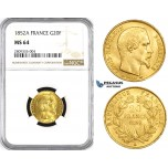 ZM216, France, Napoleon III, 20 Francs 1852-A, Paris, Gold, NGC MS64