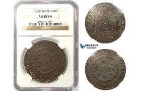 ZM23, Brazil, Pedro I, 80 Reis 1828-R, Rio de Janeiro, NGC AU58BN