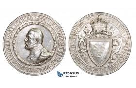 ZM236, Sweden, Oscar II, Silver Medal 1897 (Ø45mm, 40.76g) by Sven Kulle, Silver Jubilee