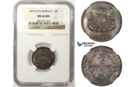 ZM24, British North Borneo, 1/2 Cent 1891-H, Heaton, NGC MS64BN