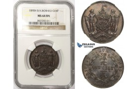 ZM25, British North Borneo, 1 Cent 1890-H, Heaton, NGC MS64BN