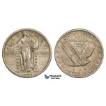 ZM257, United States, Standing Liberty Quarter (25C) 1917 (Type II) Philadelphia, Silver, XF-AU