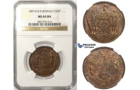 ZM26, British North Borneo, 1 Cent 1891-H, Heaton, NGC MS64BN