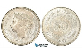 ZM260, Straits Settlements, Victoria, 50 Cents 1898, Silver, Lustrous AU (Some marks in fields)