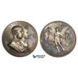 ZM261, Austria, , Franz Joseph, Silver Medal 1881 (Ø55mm, 82.1g) by Tautenhayn, Prince Rudolf Wedding