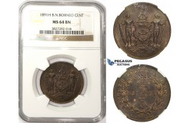 ZM27, British North Borneo, 1 Cent 1891-H, Heaton, NGC MS64BN