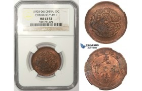 ZM30, China, Chekiang, 10 Cash ND (1903-06) Y-49.1, NGC MS63RB