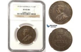 ZM306, Australia, George V, Penny 1915-H, Heaton, NGC XF45BN, Rare!